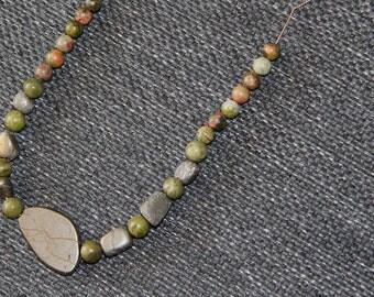 Pyrite and unakite gemstones power necklace