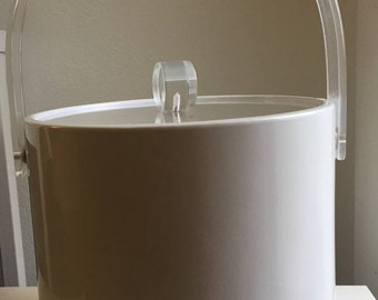 vintage white vinyl ice bucket with acrylic handle and lid