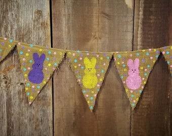 Peep burlap Easter banner