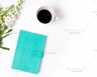Blue Notebook and Coffee