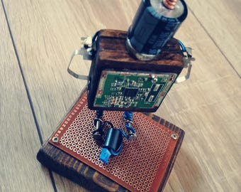 WOOD GEEK ART - Recycled Computer & Found Objects Robot Sculpture [ B-bots ] - AngryBot