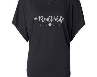 Realtor Life off the Shoulder T-shirt, Realtor Life Slouchy T-shirt