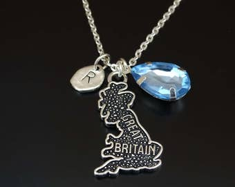 Great Britain Necklace, Great Britain Charm, Great Britain Pendant, Great Britain Jewelry, Great Britain Map Necklace, British Girlfriend