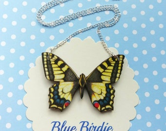 Yellow butterfly necklace butterfly jewelry yellow butterfly bib necklace butterfly jewellery butterfly gifts necklace yellow swallowtail