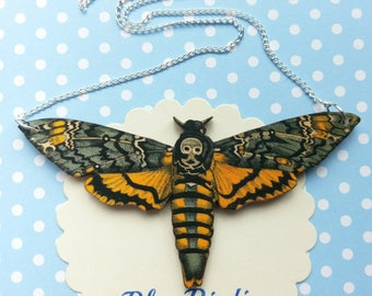 Death's head moth necklace hawk moth jewelry death's head bib necklace skull butterfly jewellery moth necklace gothic jewelry gifts for her