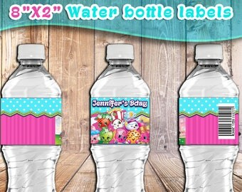SHOPKINS BIRTHDAY Party water BOTTLE labels,Shopkins bottle label personalized printables,birthday party supplies,Shopkins party decorations