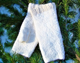 Felt mittens Felted wool fingerless gloves