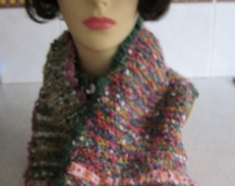 Handknitted multicoloured wool, acrylic, mohair and lurex scarf with cream chenille trim.