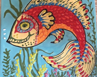 6 X 6 ceramic tile of a fanciful fish