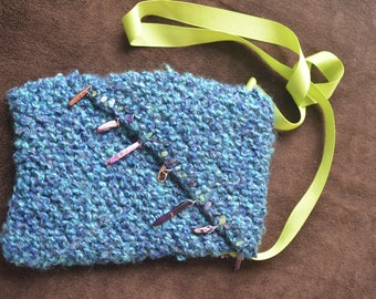 Blue Beaded Purse with Green Strap