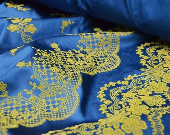 Flocked fabric by the yard sateen fabric navy blue Polyester sapphire flowers floral flock fabric crazy quilting gold