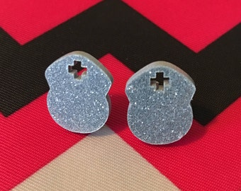 Silver Glitter Nurse Earrings - Nurse Earrings