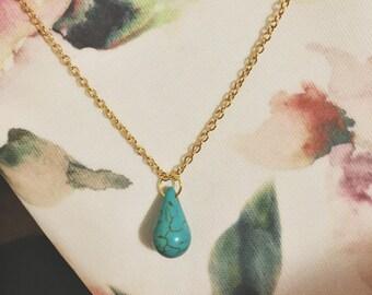Teal howlite teardrop necklace - teal howlite gemstone