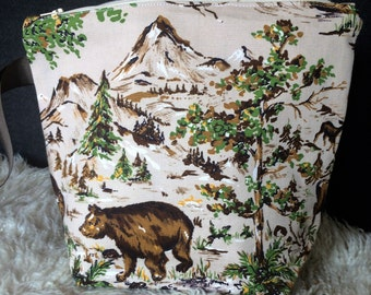 SALE***Knitting project bag, Zippered pouch, wedge, Vintage Canvas fabric, Bears, Wildlife, Mountains, deer