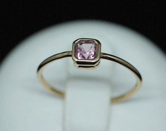 Thin ring in yellow gold and Tourmaline pink / Delicate gold yellow and pink Tourmaline ring
