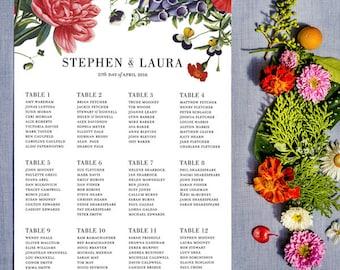 Vintage Botanical Flower Seating Chart Printable