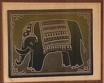 Framed Original Aquatint Etching of Indian Elephant