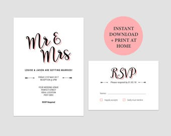 Mr and Mrs Wedding Invitations Template Set | DIY Printable Wedding Invites Set | Modern Invitation Suite for Weddings | For Word or Pages