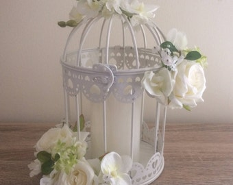Bird Cage floral Arrangement with built in battery candle