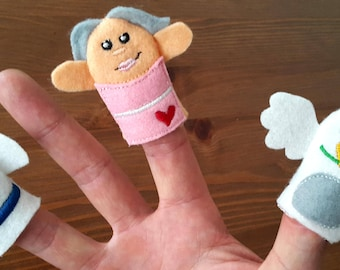 Ready to ship!!** Noah & his wife with dove Finger Puppets, Kids, Toddler, Teachers Help, Nursery, Early Years, Educational Toy, Education