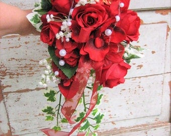 Elegant bridal bouquet - wedding roses registry - bridal bouquet Red
