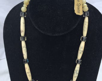 Black and White Painted Bead and Crystal Necklace