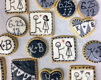 12 Bridal Shower/Engagement Sugar Cookies