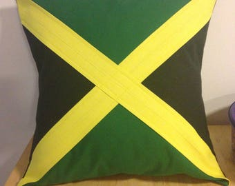 Handmade Jamaican Flag Cushion
