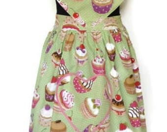 Lady vintage apron Sweetheart Dames schort - cotton - for cup cake lovers