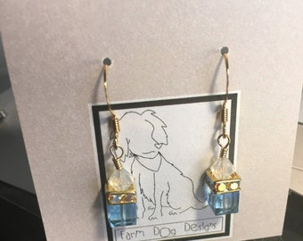 Dangly Swarovski Blue earrings