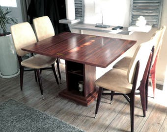 Table portfolio Art Deco modular console, veneered rosewood brass hinge