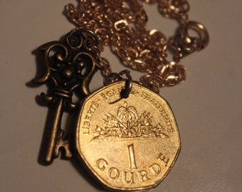 Coin necklace Haitian gourde on rose gold 9inch chain with charm pendant