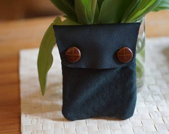 Leather Jersey pouch FIR Green