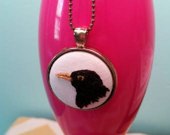 Blackbird Singing in the Dead of Night Necklace - Hand Embroidery - Blackbird