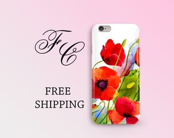 Poppy iPhone 5 Case Gift for Women Poppies iPhone 7 Case Floral Hard Case Flower Phone Case Smartphone Case iPhone 7 Plus iPhone 6s Case aaa