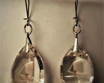 Sterling Silver Carved Crystal Sailboat Earrings