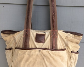 Vintage Leather and Canvas Tote Bag