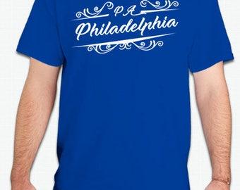 Philadelphia T-Shirt Eagles 76ers Flyers Phillies fans Blue T-Shirts