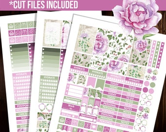 Purple Rose Weekly Kit, Happy planner stickers, Printable planner stickers, Mambi stickers, Cut files, Floral stickers -STHP007