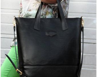 Designer Handmade Italian Genuine Leather Womens Bag Tote Handbag / Shoulder Bag Black