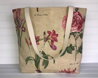 Handmade Everyday Tote | Market Bag |  Botanical Garden Tote