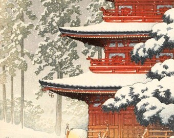 "Japanese Art Print ""Saishoin Temple in Snow, Hirosaki"" by Kawase Hasui, woodblock print reproduction, asian art, cultural art, snowfall"