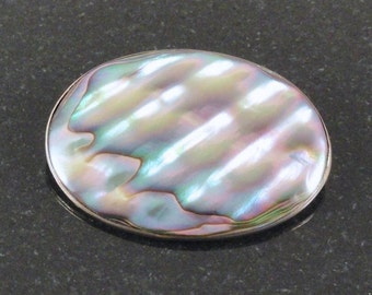 Vintage Mexican Large Abalone Oval Brooch c1960s