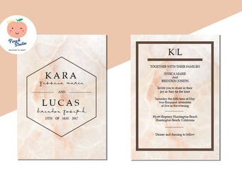 MARBLE theme Wedding Invitation Template, Invitations, Printable Invitation, Instant Download