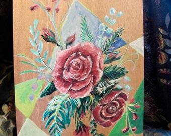 Rose Blooms - Original Acrylic on Wood