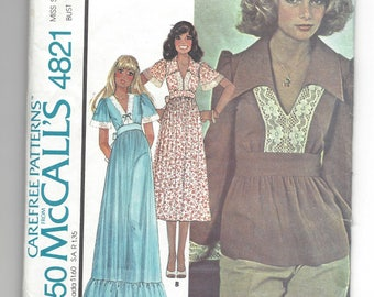 Vintage 1975 pattern.  McCall's 4821.  Misses Retro Boho Hippie Chic Maxi or midi dress, or Peasant top.   Size 12