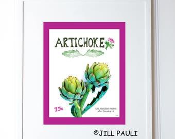 Artichoke Seed Packet Wall Art