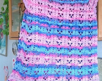 Crocheted summer handmade lacy tunic for a girl