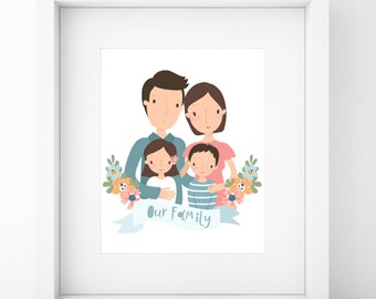 Custom Family Portrait/Family Portrait Custom/Family Portrait/Custom Portrait/Family Portrait illustration/