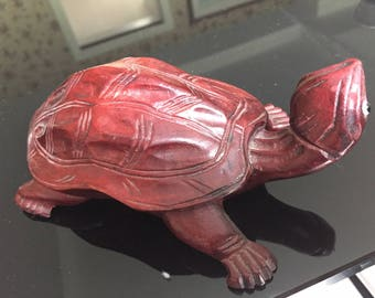 Vintage carved wooden turtle